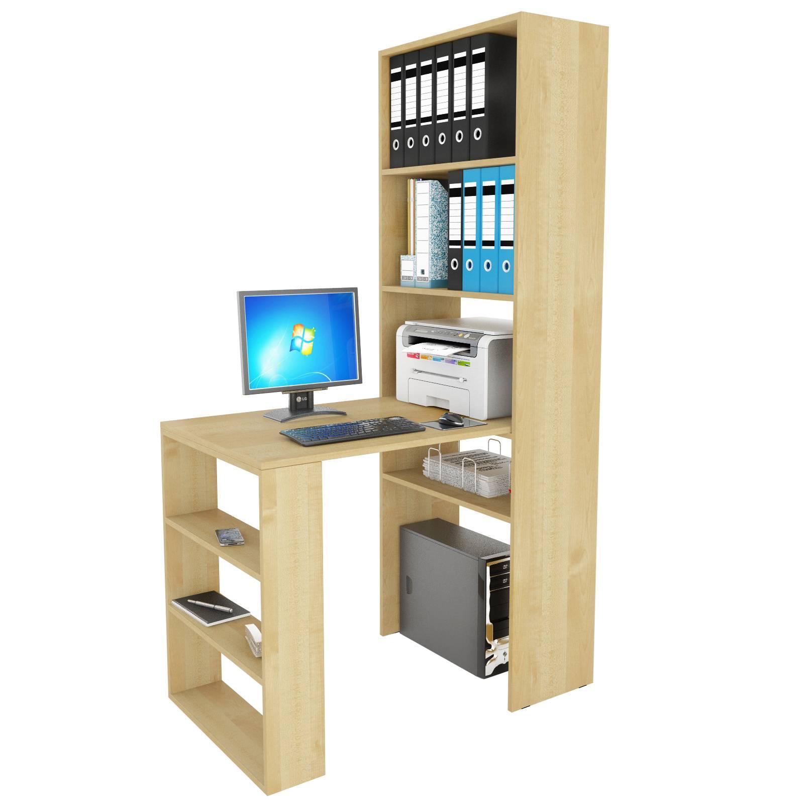 Угловой компьютерный стол с надстройкой и полками рикс-45 - .