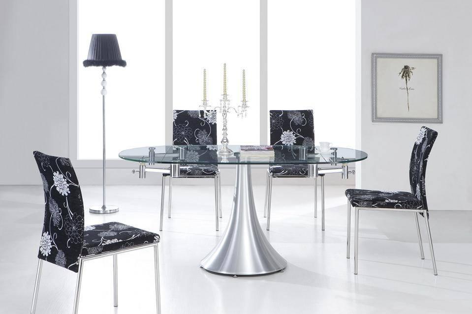 Стеклянные раздвижные столы на одной ножке